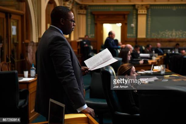 State representative Jovan Melton listening as lawmakers were called back to the Capitol for a legislative special session to fix a billdrafting...