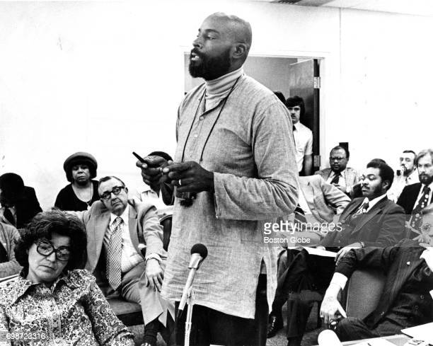 State representative Mel King speaks during a hearing on the proposed Roxbury Community College site in Boston on Nov 16 1977