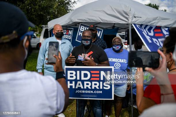 State Representative Shevrin Jones speaks to voters and media outside the Miami Dade Regional Library in Miami, Florida on October 28 during early...