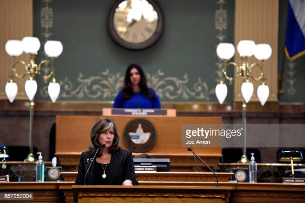 State representative Susan Beckman speaking in the house as lawmakers were called back to the Capitol for a legislative special session to fix a...