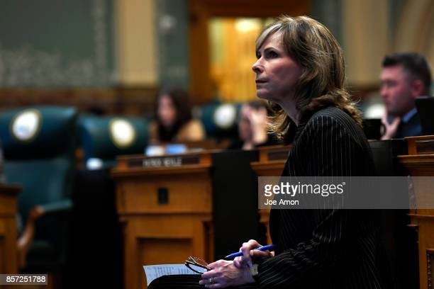 State representative Susan Beckman waiting to speak as lawmakers were called back to the Capitol for a legislative special session to fix a...