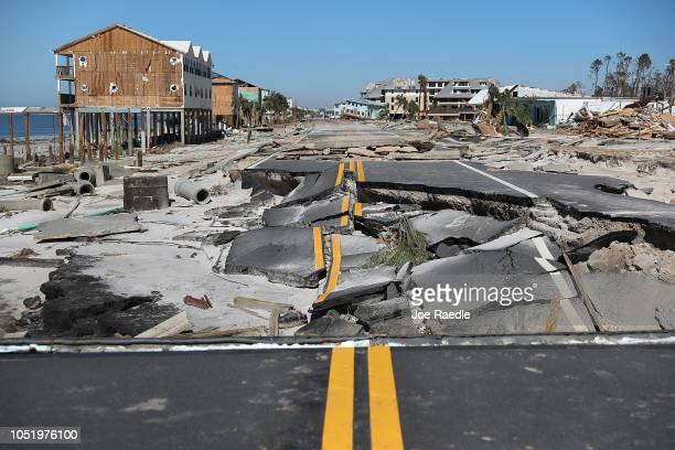 State Road 98 is torn up after Hurricane Michael passed through the area on October 12 2018 in Mexico Beach Florida The hurricane hit the panhandle...