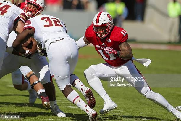 State safety Josh Jones makes the tackle against Boston College running back Jon Hillman during the first half between the Boston College Eagles and...