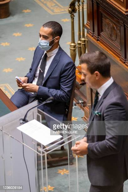State Secretary for Asylum and Migration policy Sammy Mahdi pictured during a plenary session of the Chamber at the Federal Parliament in Brussels,...