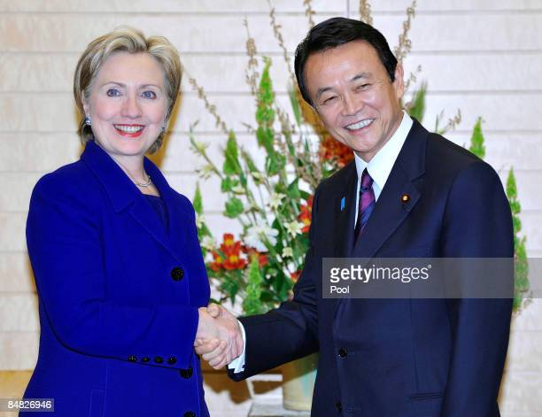 State Secretary Hillary Clinton chats with Japanese Prime Minister Taro Aso prior to their talks at Aso's official residence on February 17 2009 in...