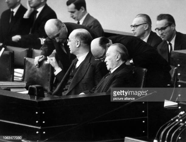 State secretary Karl Maria Hettlage Federal finance minister Frank Etzel chairman of the budget committee Rudolf Vogel and German chancellor Konrad...