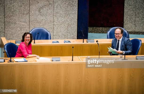State Secretary of Social Affairs and Employment Tamara van Arkvand Minister of Social Affairs and Employment Wouter Koolmees attend a debate in the...