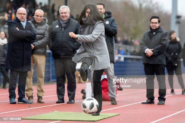 State secretary Serap Güler shoots a penalty during the U17 Girl's international friendly match between Germany and Netherlands at the Sportpark on...