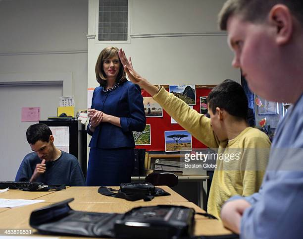 State Sen Katherine Clark the Democratic nominee for the 5th Congressional District visits the Perkins School for the Blind and visits a classroom...