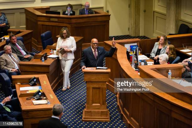 State Sen. Roger Smitherman speaks in opposition to HB314, which would ban abortions in all cases except the health of the mother in the Alabama...