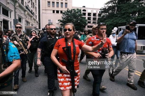 State senator Amanda Chase arrives at an open carry protest on July 4, 2020 in Richmond, Virginia. Chase is currently running for the Governors...