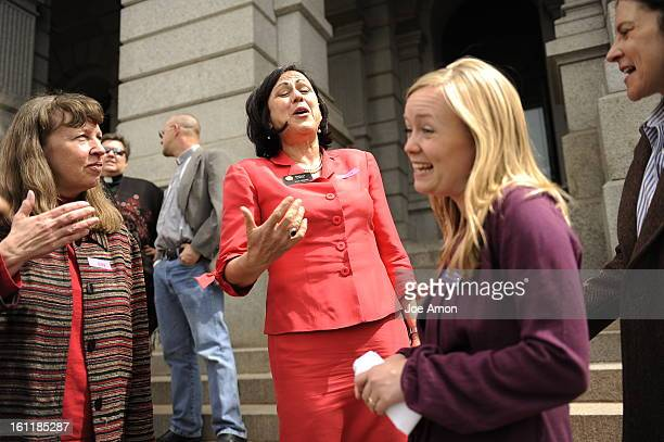 State Senator Angela Giron during the Annual Equal Pay Day Rally at the Capitol with pay equity advocates, businesspeople and legislators on the west...