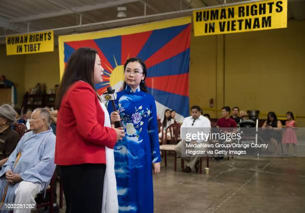State Senator Janet Nguyen gives an interview during a human rights conference to discuss issues in Tibet and Vietnam at the Chua Dieu Ngu Buddhist...