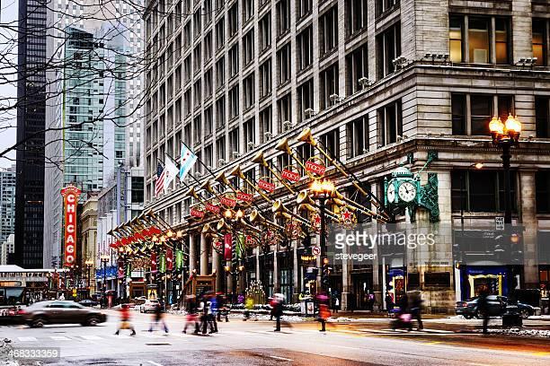 a state street no natal, no centro de chicago - macy's - fotografias e filmes do acervo
