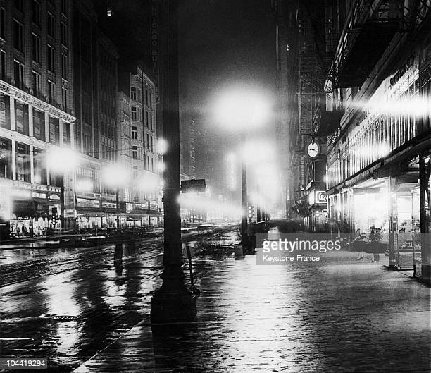 State Street By Night In The City Of Chicago Usa Around 1932