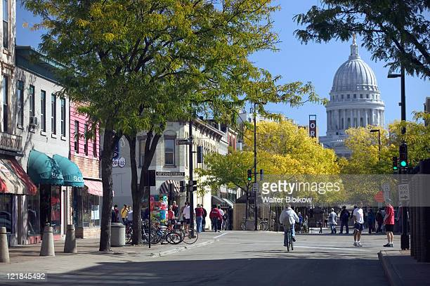 state street pedestrian mall, madison, wi - madison wisconsin stock pictures, royalty-free photos & images