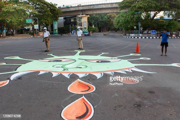 State Traffic Police makes graffiti on City Road to encourage people to follow the nationwide shutdown on April 1, 2020
