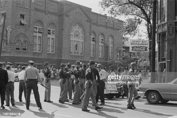 State troopers are called to the 16th Street Baptist Church headquarters of the Birmingham Campaign in Birmingham Alabama May 1963 The movement which...