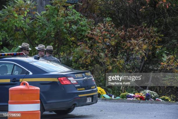 State troopers guard the site of the fatal limousine crash on October 8 2018 in Schoharie New York 20 people died in the crash including the driver...