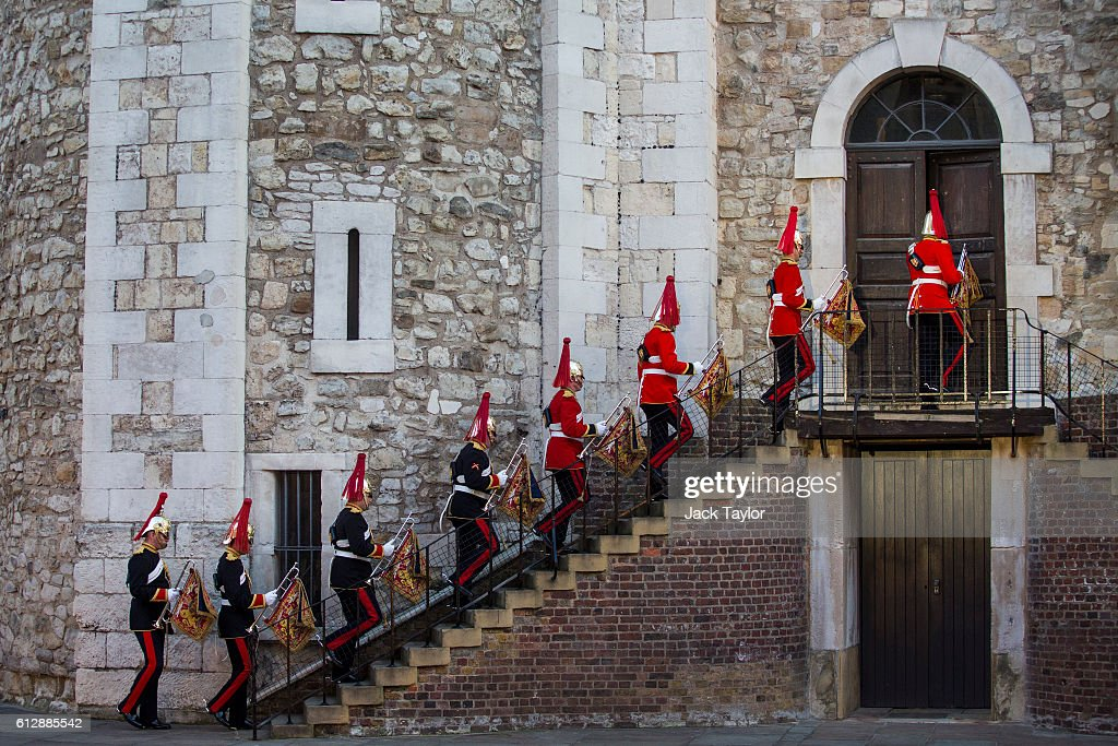 State Trumpeters of The Blues And Royals enter the White Tower before the installation of General Sir Nicholas Houghton as the 160th Constable of the Tower of London during a ceremony in front at Tower of London on October 5, 2016 in London, England. The role of Constable, while largely ceremonial, is the most senior appointment at the Tower of London and one of the most ancient offices in England, dating back to around 1078.