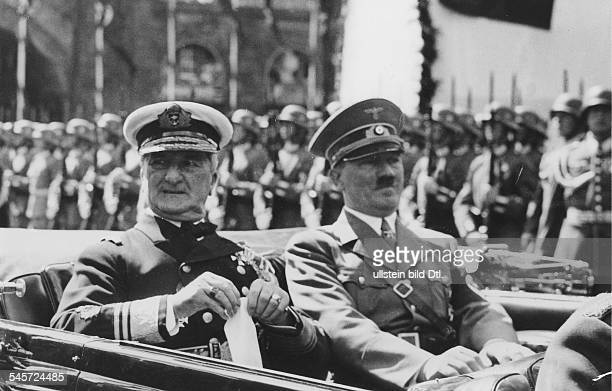 State visit of the hungarian head of state to Kiel Miklos Horthy de Nagybanya and Adolf Hitler in a car taking them to the harbour Photographer...