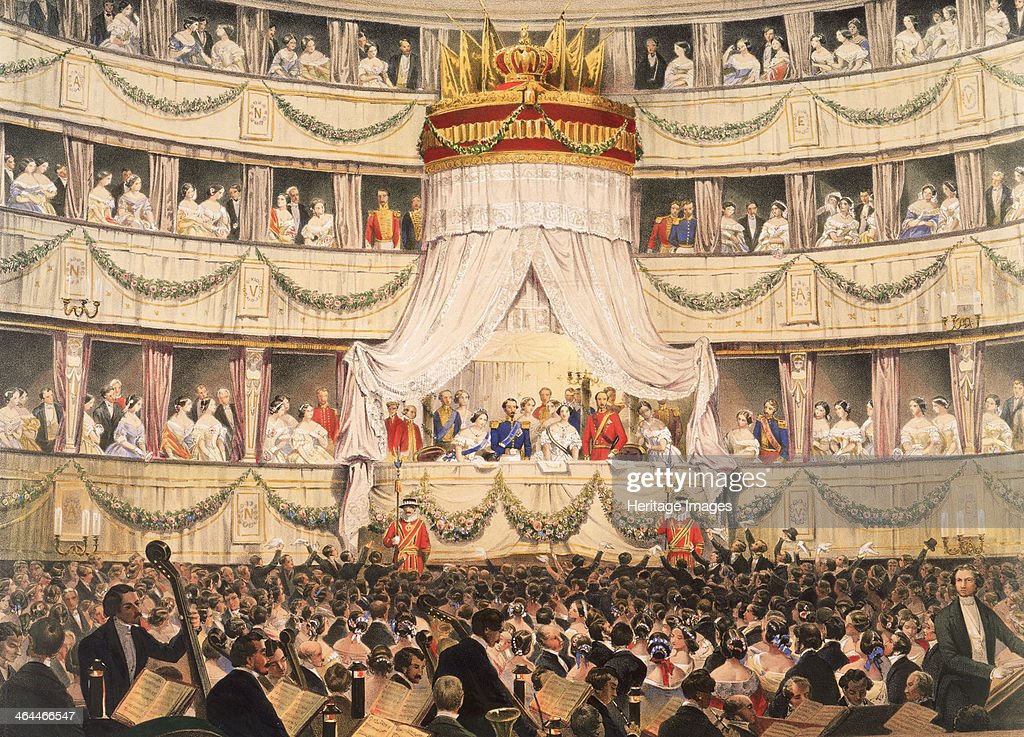 State visit to Royal Italian Opera, now the Royal Opera House, Covent Garden, London, before 1892. : News Photo