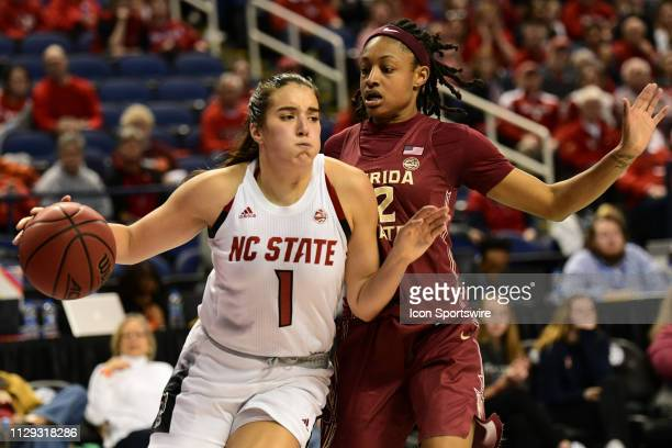 State Wolfpack guard Aislinn Konig drives the baseline during the ACC Women's basketball tournament between the NC State Wolfpack and the Florida...