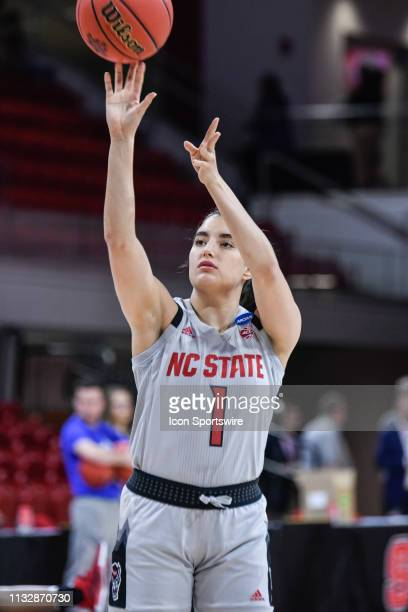 State Wolfpack guard Aislinn Konig during pregame warm up during the 2019 Div 1 Championship Second Round college basketball game between the...
