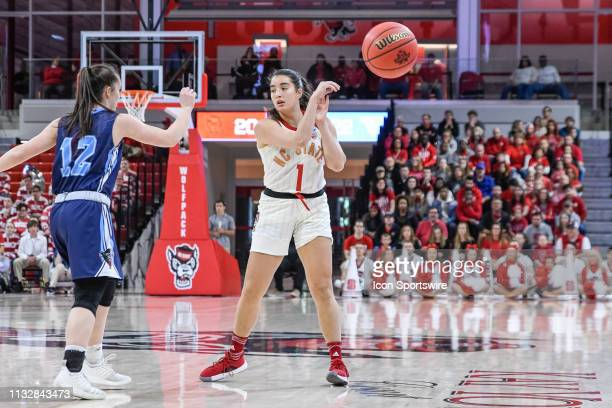 State Wolfpack guard Aislinn Konig passes to the corner during the 2019 Div 1 Women's Championship First Round college basketball game between the...