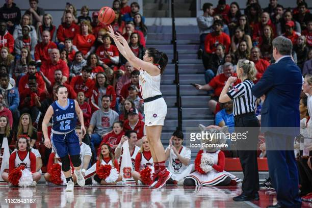 State Wolfpack guard Aislinn Konig shoots the 3pointer during the 2019 Div 1 Women's Championship First Round college basketball game between the...