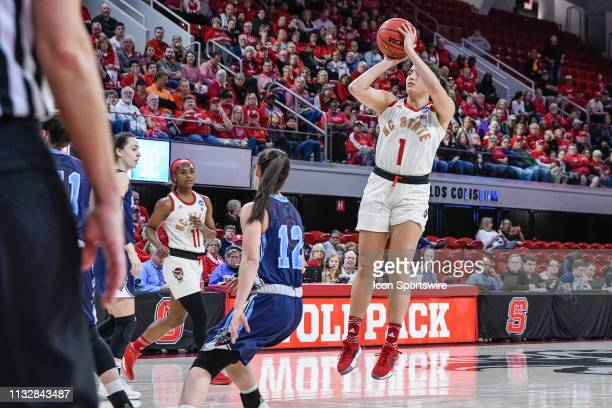 State Wolfpack guard Aislinn Konig with the short jumper during the 2019 Div 1 Women's Championship First Round college basketball game between the...