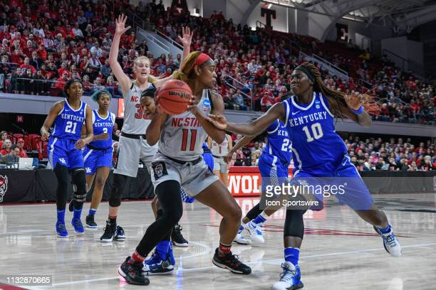 State Wolfpack guard Kiara Leslie looks for the open person during the 2019 Div 1 Championship - Second Round college basketball game between the...