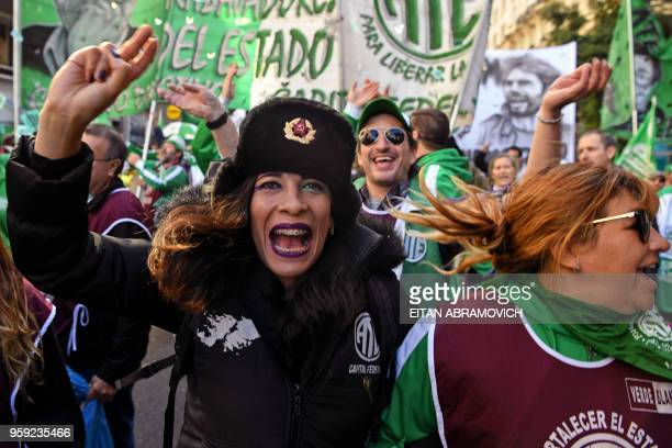 State workers demonstrate against the rise of public services fares and the government's negotiations with the International Monetary Fund in Buenos...