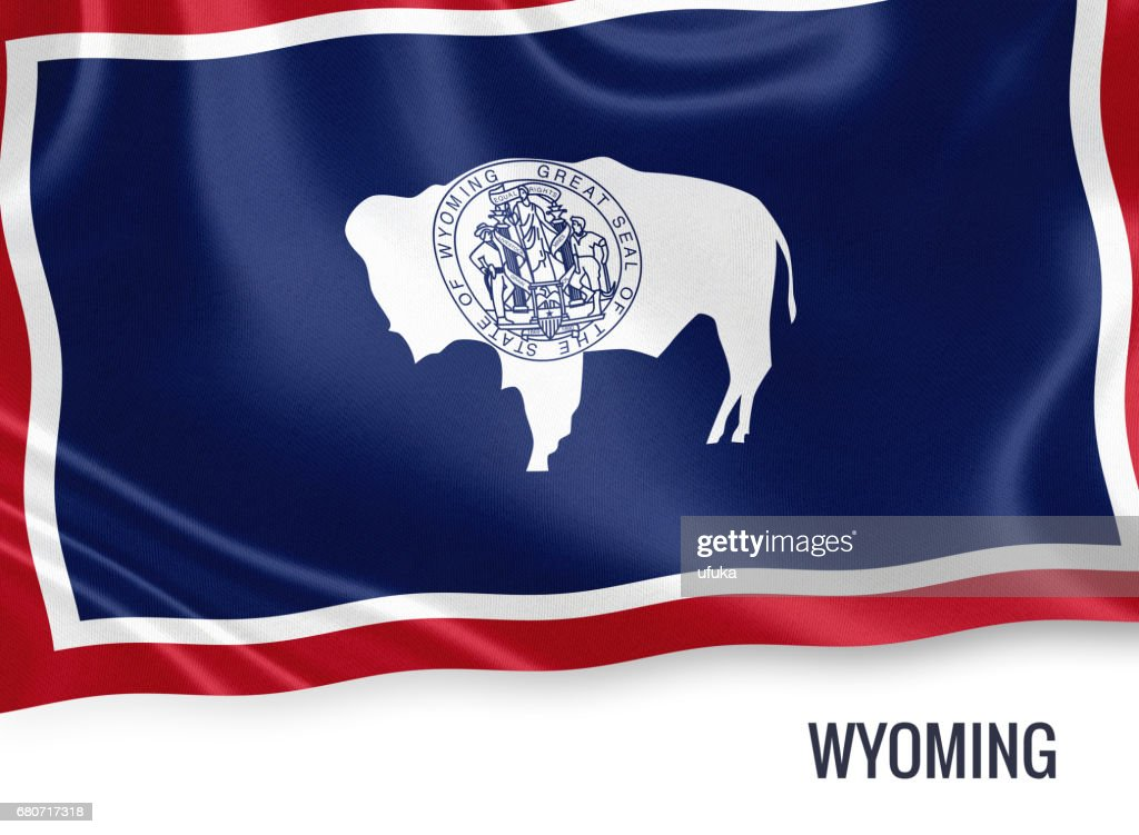 Us State Wyoming Flag Waving On An Isolated White Background State
