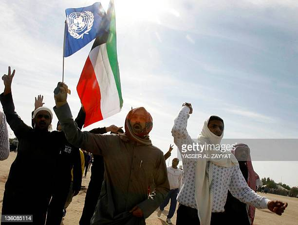 Stateless Arabs known as Bidoons holding United Nations and Kuwaiti flags protest for the second week in a row to demand citizenship and other rights...