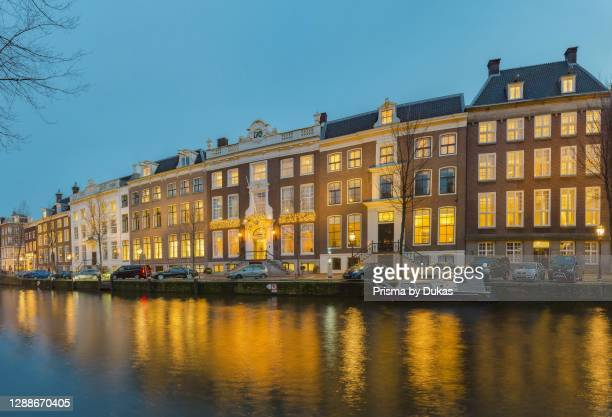 Stately houses along the canal called Herengracht, Amsterdam, Noord-Holland.