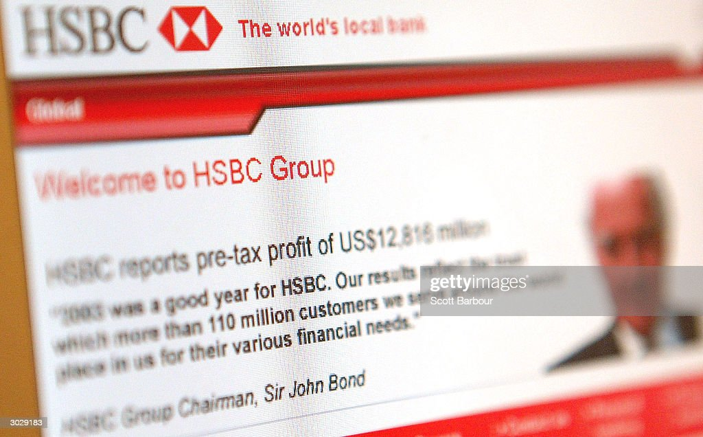 A statement by Sir John Bond, HSBC Group Chairman announcing banking giant HSBC's record profits is seen on their website March 1, 2004 in London, England. The London-based bank, which operates in 79 countries, gave an upbeat tone for the global economy, including its key Hong Kong market by reporting a record annual pre-tax profit of ?7.7bn (US$14.4).