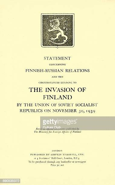 Statement Concerning Finnish Russian Relations Booklet published in 1939 regarding the circumstances leading to the invasion of Finland by the USSR