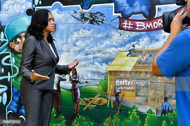 State's Attorney for Baltimore Maryland Marilyn J Mosby is interviewed by Shoshana Guy Senior Producer NBC News while walking through the...