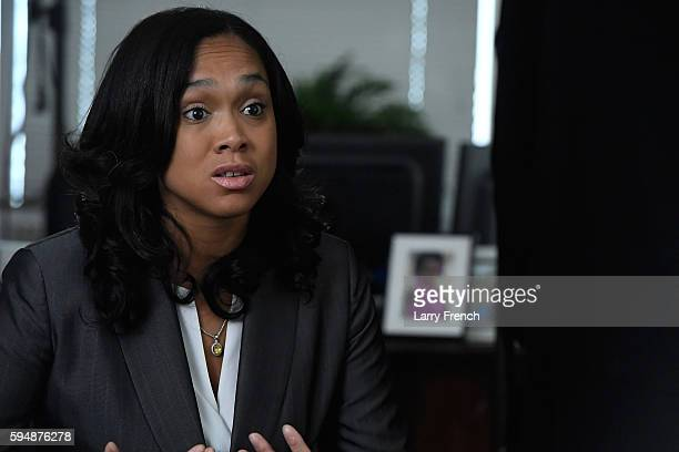 State's Attorney for Baltimore Maryland Marilyn J Mosby is interviewed by Shoshana Guy Senior Producer NBC News on August 24 2016 in Baltimore...