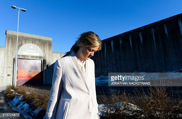 States lawyer Adele Matheson Mested reacts to the sun as he leaves the Skien prison on March 15 2016 in Skien some 130 km south west of Oslo where is...