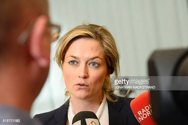 States lawyer Adele Matheson Mested speaks to the press at a makeshift court in Skien prisons gym on March 15 2016 in Skien some 130 km south west of...