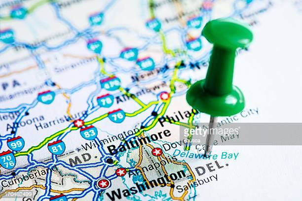 usa states on map: delaware - delaware us state stock pictures, royalty-free photos & images