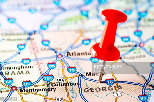 usa states on map: georgia - georgia us state stock pictures, royalty-free photos & images