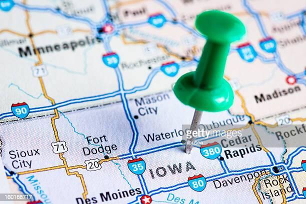 usa states on map: iowa - iowa stock pictures, royalty-free photos & images