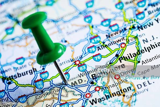 usa states on map: maryland - us state border stock photos and pictures