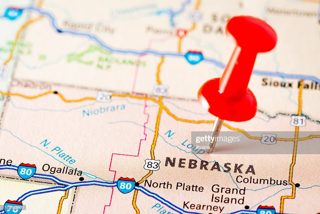 Usa States On Map Nebraska Stock Photo Getty Images