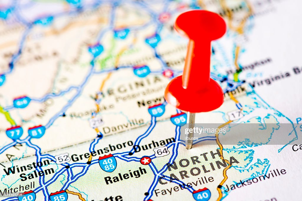 USA states on map: North Carolina : Stock Photo