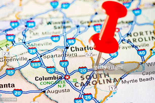 usa states on map: south carolina - south stock pictures, royalty-free photos & images