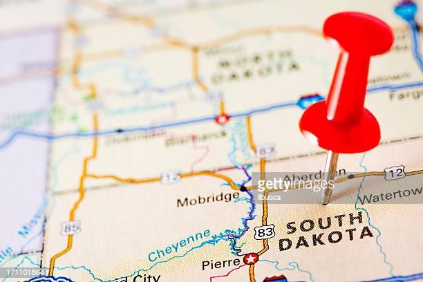 usa states on map: south dakota - south dakota stock pictures, royalty-free photos & images
